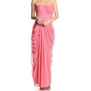 JS Collections Strapless Draped Sheer Jersey Gown